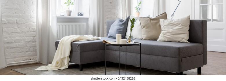 Panorama of living room with gray sofa and metal coffee table