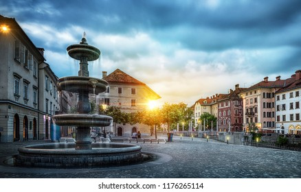 Panorama of Ljubljana. Evening view on Fountain and old city, Slovenia, Europe.
