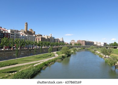 Panorama of Lleida. In the background the Seu (Old Cathedral). Catalonia, Spain.
