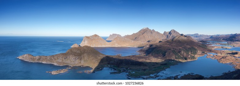 Panorama of the Lofoten mountain range from the top of the Offersoykammen, Lofoten, Norway