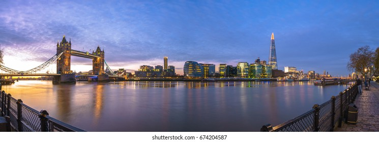 Panorama of London with Tower bridge in London,England