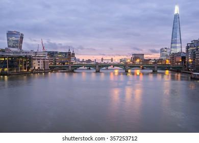 Panorama of London,Southwark bridge and Thames river viewed at sunrise