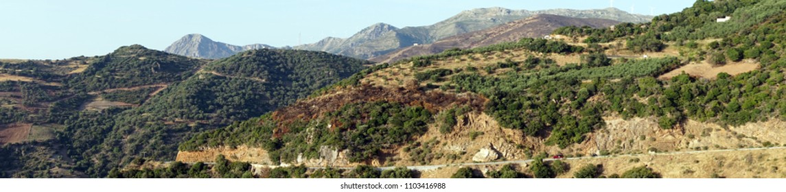 Panorama of the long road on the west coast of Crete island, Greece