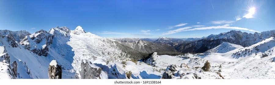 Panorama Look From The Stuiben Over Garmisch-Partenkirchen And Zugspitze On A Sunny Winter Day