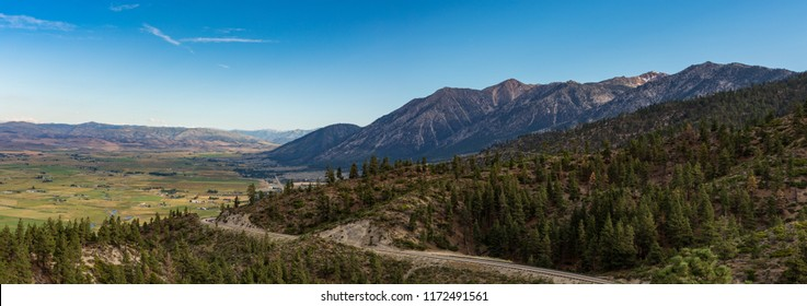 Panorama looking back towards Gardnerville Nevada with the Sierra mountain range