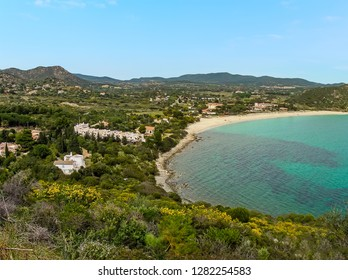 A panorama looking down on the Villasimius beach, Sardinia in summertime