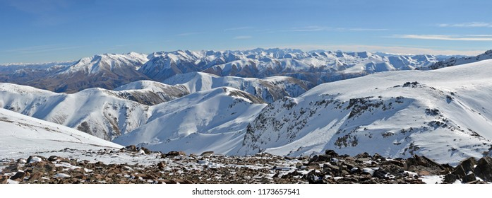 Panorama looking South West from the top of Mount Hutt Ski Field, Canterbury, New Zealand