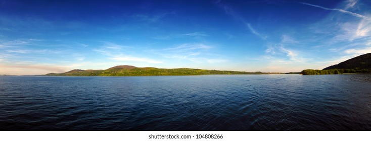 Panorama of Lough Derg Co. Clare Ireland during the summer
