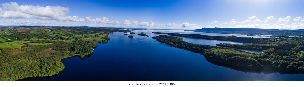 panorama of lough Erne in Northern Ireland, aerial view.  Large size prints.