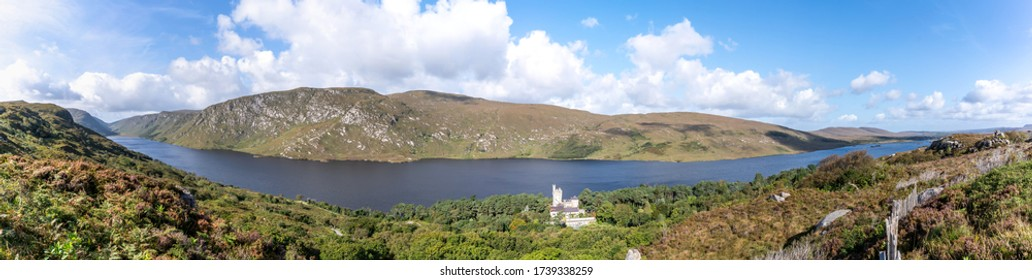 Panorama from Lough Veagh with Glenveagh Castle