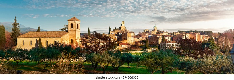 Panorama of Lourmarin. Listed as the most beautiful villages of France. Provence-Alpes-Cote d'Azur.