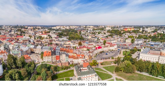 The panorama of Lublin from a bird's eye view with the Lublin Castle and the Po Farze square. Aerial view of the old city in Lublin.
