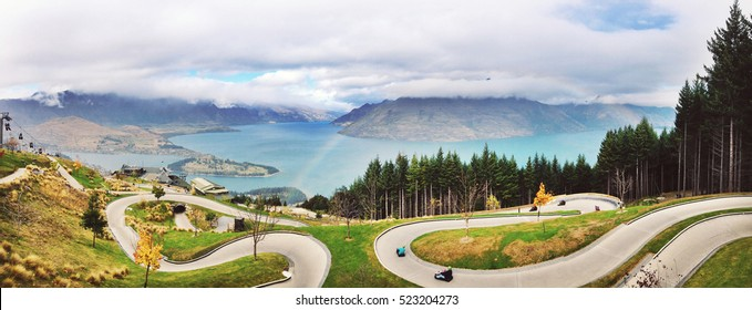 Panorama Luge track with beautiful lake and mountain at Skyline, Queenstown, New Zealand