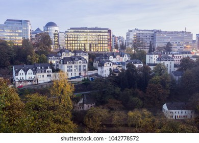 Panorama of Luxembourg City at evening. Luxembourg City, Luxembourg.