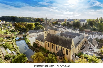 Panorama of Luxemburg (Balcony of Europe, Neumunster Abbey). Luxembourg. Luxembourg.