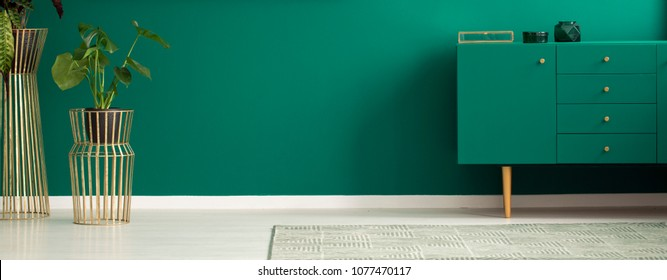 Panorama of a luxurious apartment interior with green walls, golden plant stands and a modern teal sideboard
