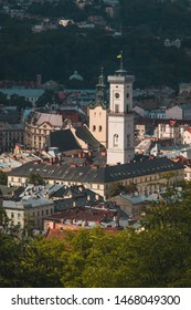 Panorama of Lviv city, looking towards Town hall viewed from observation point on castle hill on a sunny day.