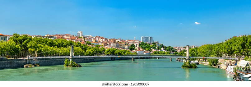 Panorama of Lyon above the Rhone River. Auvergne-Rhone-Alpes, France