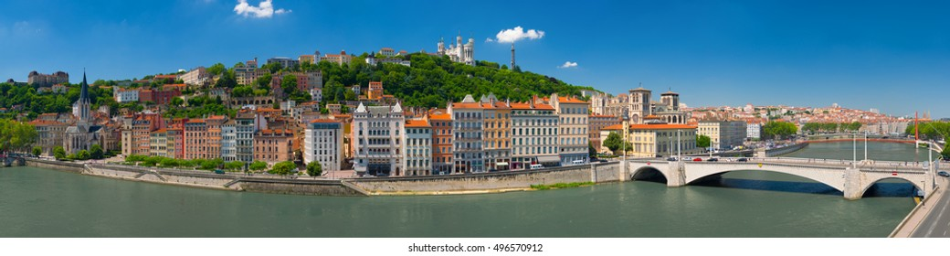 Panorama of Lyon in a summer day
