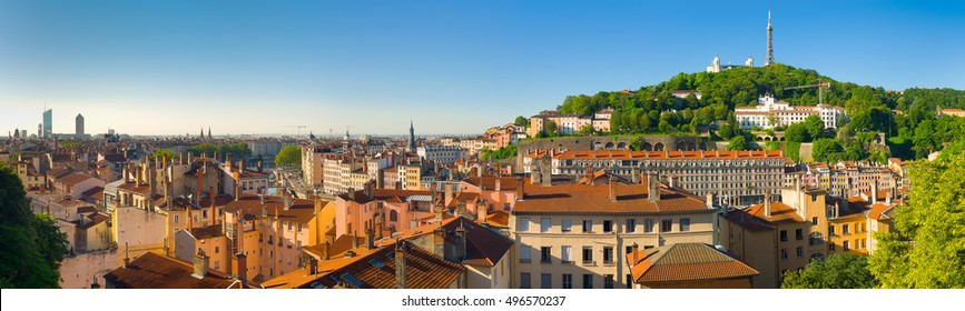 Panorama of Lyon in a sunny summer day