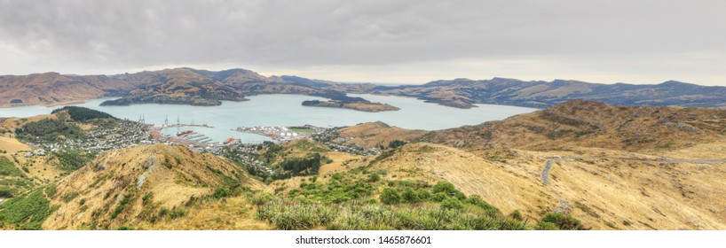 A Panorama of Lyttelton harbor near Christchurch, New Zealand
