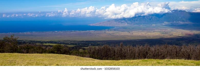 Panorama of Maalaea Bay and Puu Kukui mountain peak from high up on the island of Maui in Hawaii