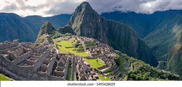 Panorama of the Machu Picchu in Cusco, Peru. Inca's building one of the of the New Seven Wonders of the World.