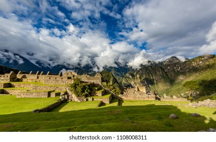 Panorama of Machu Picchu with dramatic sky and clouds