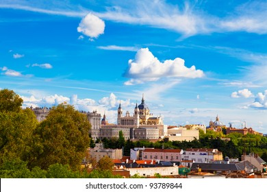 Panorama of Madrid (Spain) with the Royal Palace and the Almudena Cathedral