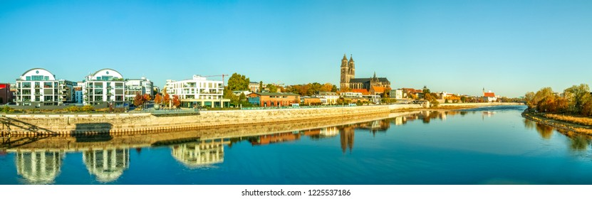 Panorama, of Magdeburg with Cathedral, Germany