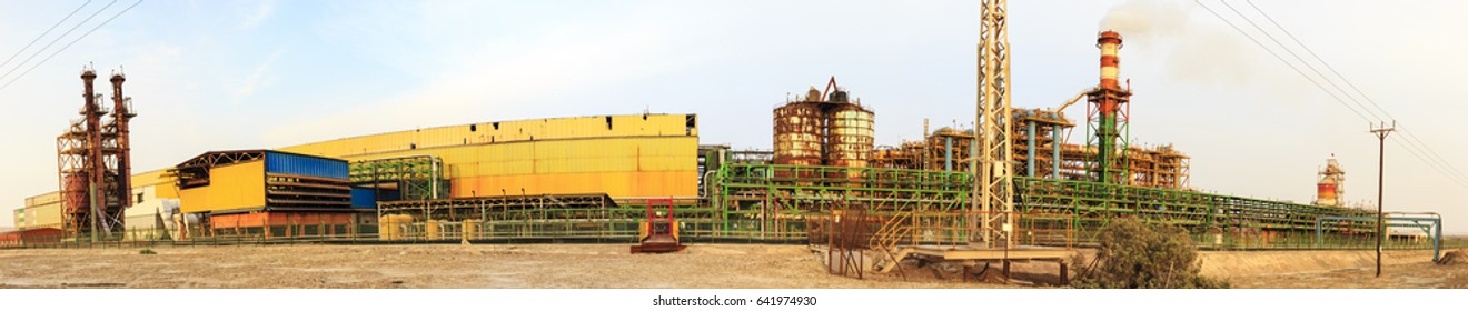 Panorama of the Magnesium Plant with bright warehouses