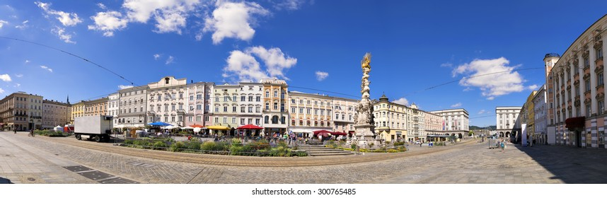 Panorama of the main square in Linz, Austria in sunny weather in summer