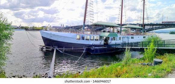 PANORAMA MAINZ, GERMANY,Mainz Kastel boat mooring near Mainz, Germany