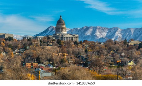 Panorama The majestic Utah State Capital Building towering over houses in Salt Lake City