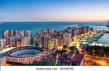 Panorama of Malaga cityscape, Costa del Sol, Spain