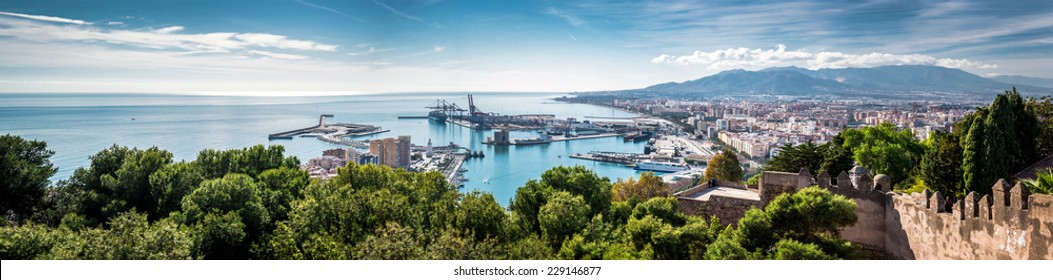 Panorama of Malaga seaport. Spain