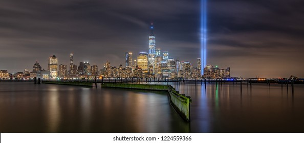 Panorama of Manhattan from Jersey City during the September 11th Memorial tribute in light.