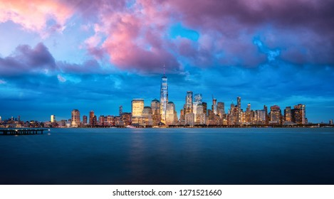 Panorama of Manhattan from Jersey City during the September 11th Memorial tribute in light, New york city, America, USA