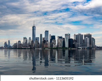 Panorama of Manhattan in New York City with artificial water showing reflections