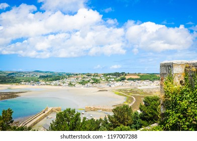 Panorama of Marazion, an ancient market town in Cornwall, England and home of St. Michael's Mount, a major tourist attraction in Cornwall.