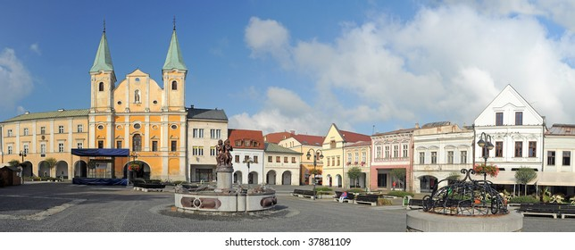 panorama of Marian square (slovak: Marianske namestie) in Zilina, Slovakia