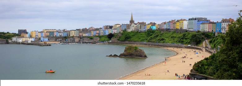Panorama of the Marina, Harbour, and City Skyline on a beautiful summer holiday in the picturesque seaside village of Tenby in Pembrokeshire, Wales, United Kingdom