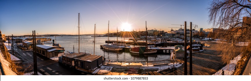 Panorama.  Marina of Oslo, Norway at sunset.
