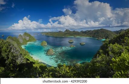 Panorama marine reserve Raja Ampat in New Guinea