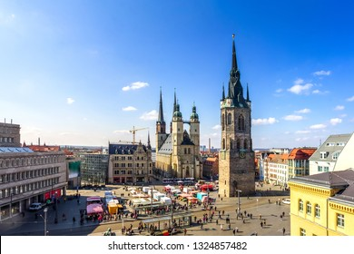 Panorama of the market of Halle an der Saale, Germany