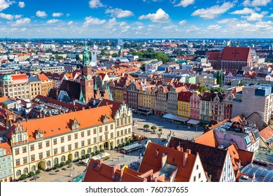 Panorama of  Market Square in Wroclaw, Poland in a summer day