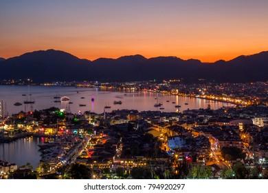 panorama of Marmaris at sunset
