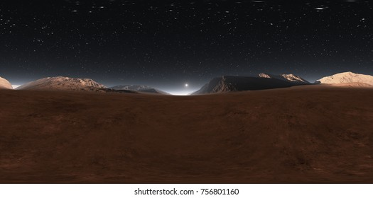 Panorama of Mars sunset, environment 360° HDRI map. Equirectangular projection, spherical panorama. Martian landscape, 3d illustration