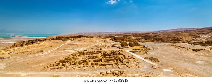Panorama of the Masada fortress - the Judaean Desert, Israel