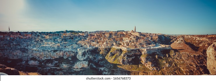 Panorama of Matera from Canyon  - Puglia - Italy